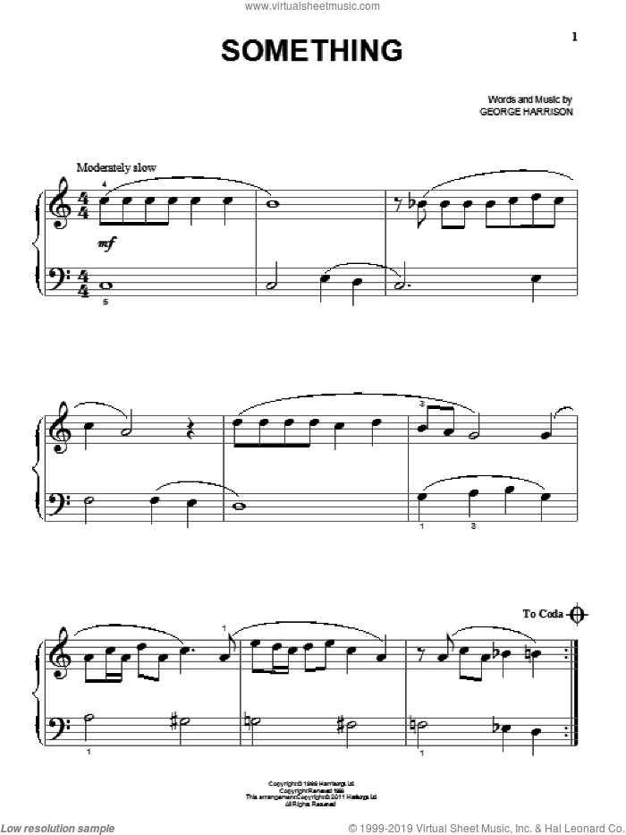 Something sheet music for piano solo (big note book) by The Beatles and George Harrison, easy piano (big note book)