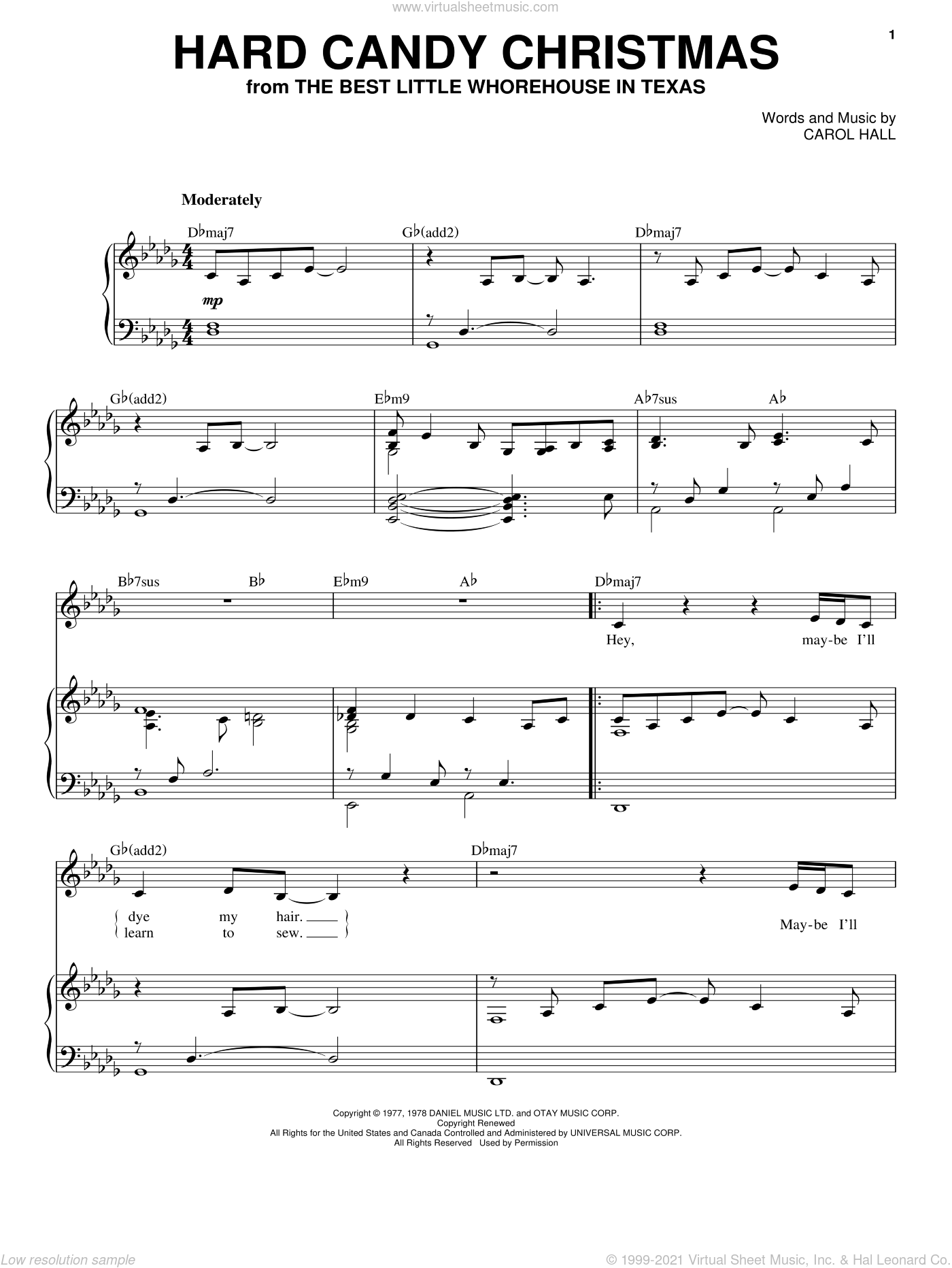 Hard Candy Christmas sheet music for voice and piano by Dolly Parton and Carol Hall, intermediate skill level