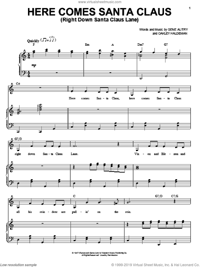 Here Comes Santa Claus (Right Down Santa Claus Lane) sheet music for voice and piano by Oakley Haldeman
