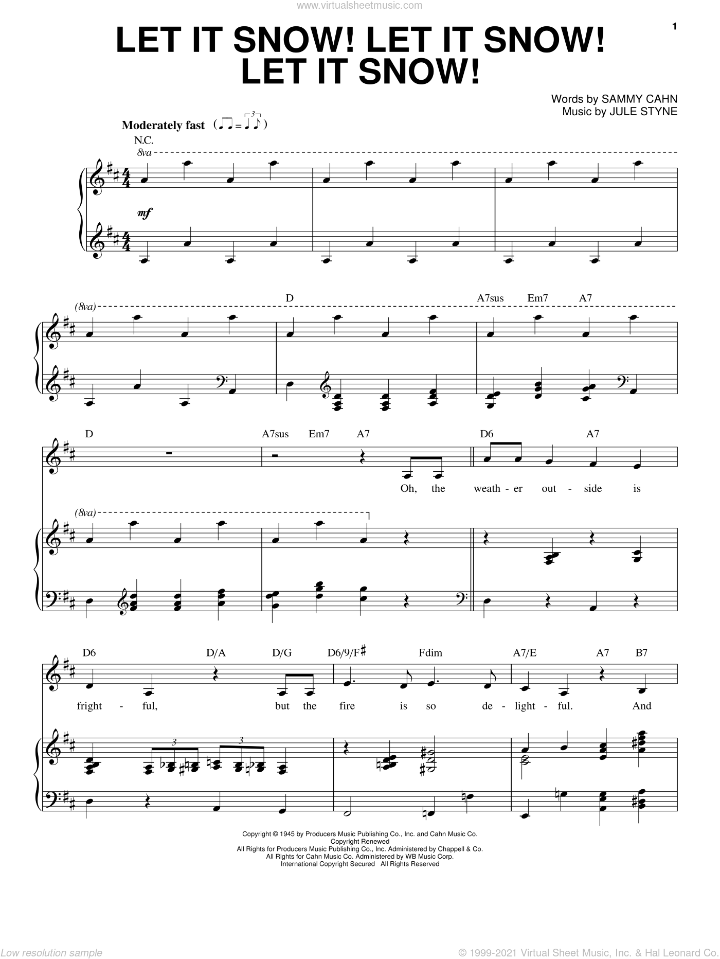 Let It Snow! Let It Snow! Let It Snow! sheet music for voice and piano by Sammy Cahn