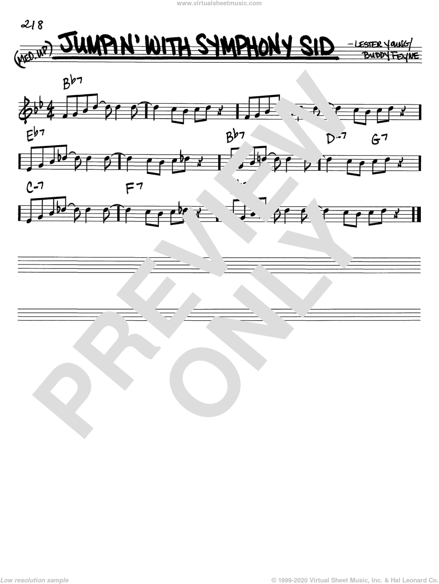 Jumpin' With Symphony Sid sheet music for voice and other instruments (C) by Lester Young