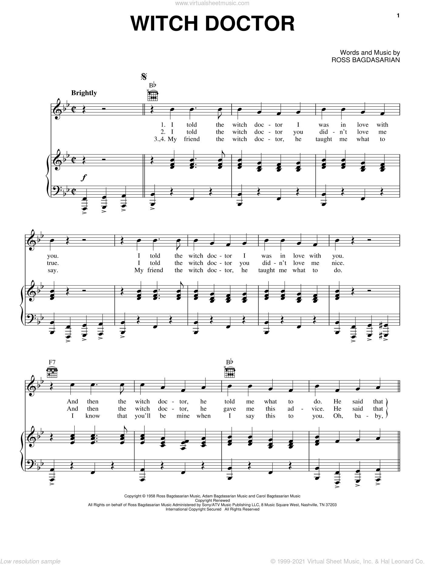 Witch Doctor sheet music for voice, piano or guitar by Alvin And The Chipmunks and Ross Bagdasarian. Score Image Preview.