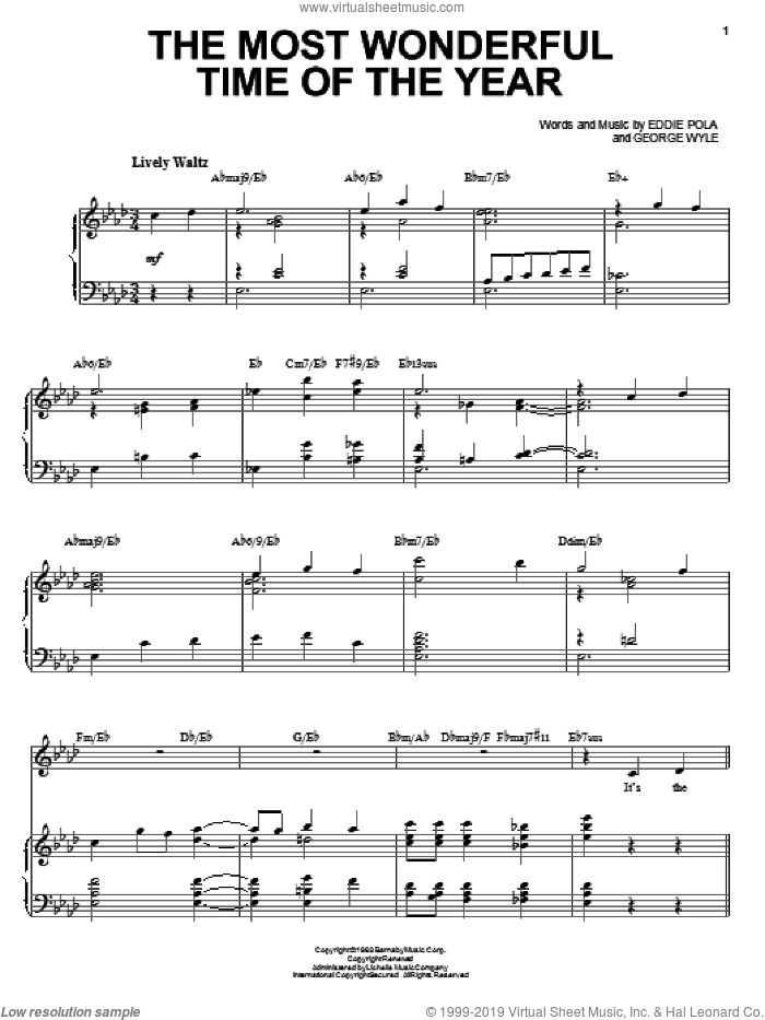 The Most Wonderful Time Of The Year sheet music for voice and piano by Amy Grant, Eddie Pola and George Wyle, intermediate