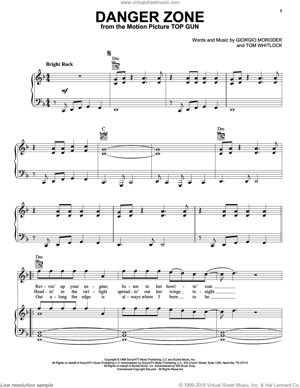 Danger Zone sheet music for voice, piano or guitar by Tom Whitlock