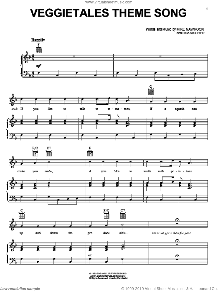 VeggieTales Theme Song sheet music for voice, piano or guitar by Mike Nawrocki and VeggieTales. Score Image Preview.