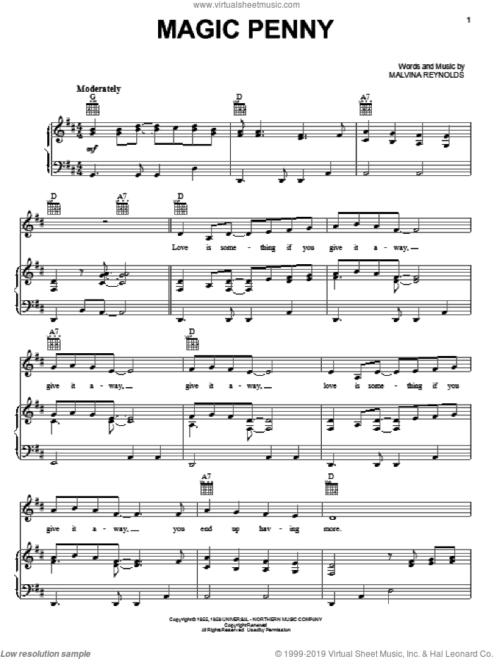 Magic Penny sheet music for voice, piano or guitar by Malvina Reynolds. Score Image Preview.