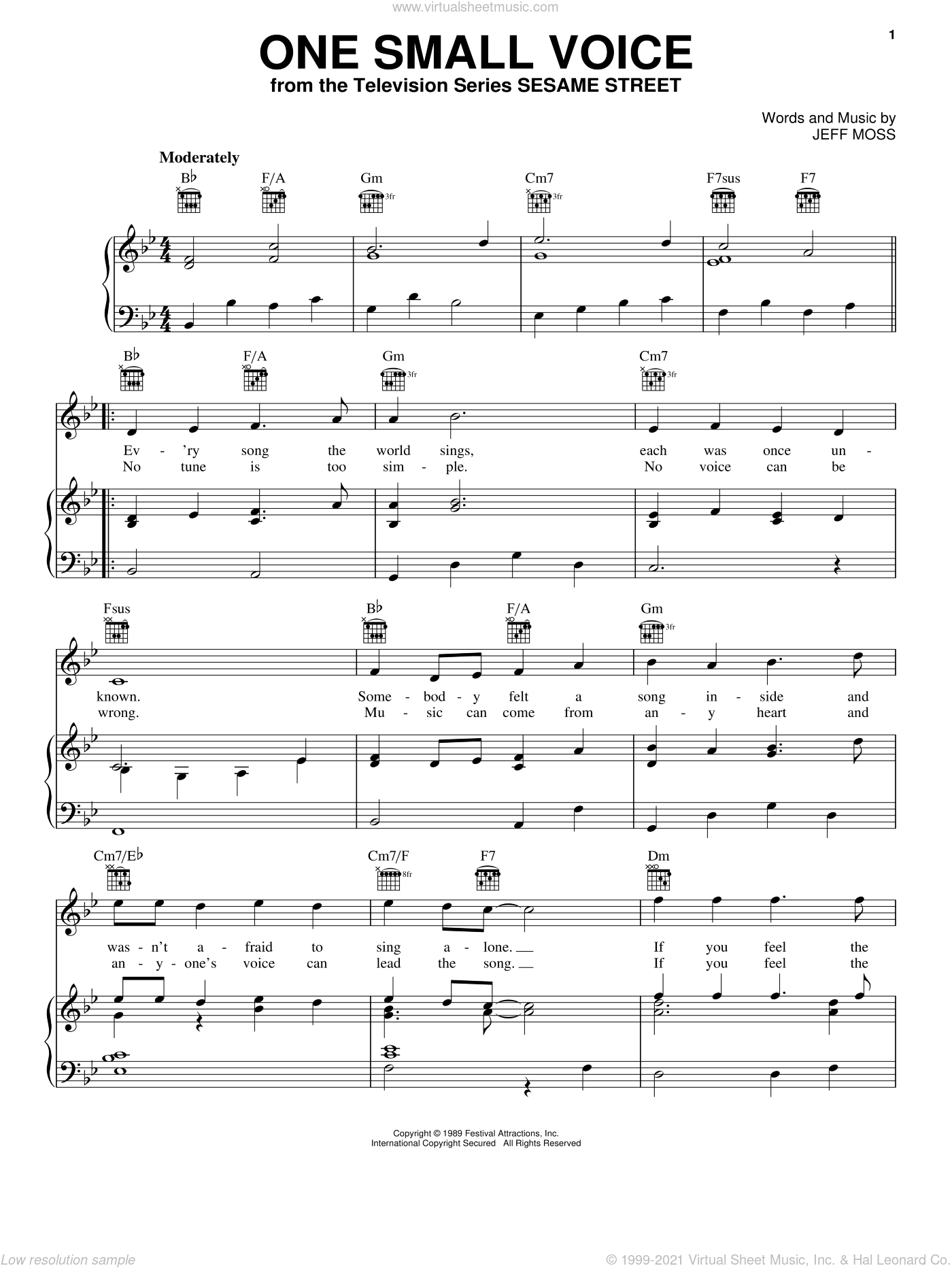 One Small Voice sheet music for voice, piano or guitar by Jeff Moss. Score Image Preview.