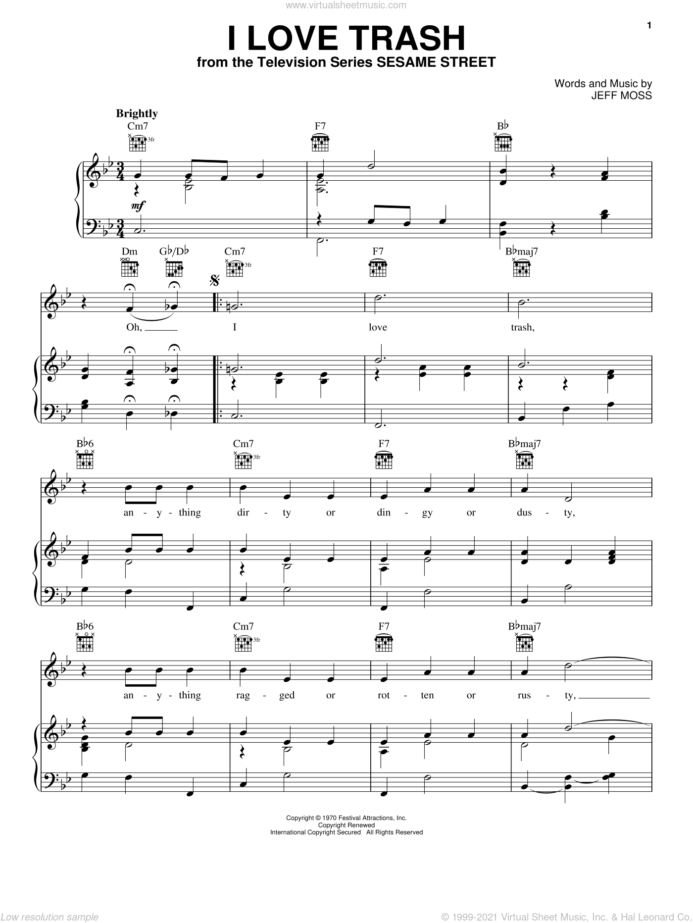 I Love Trash sheet music for voice, piano or guitar by Jeff Moss, intermediate. Score Image Preview.