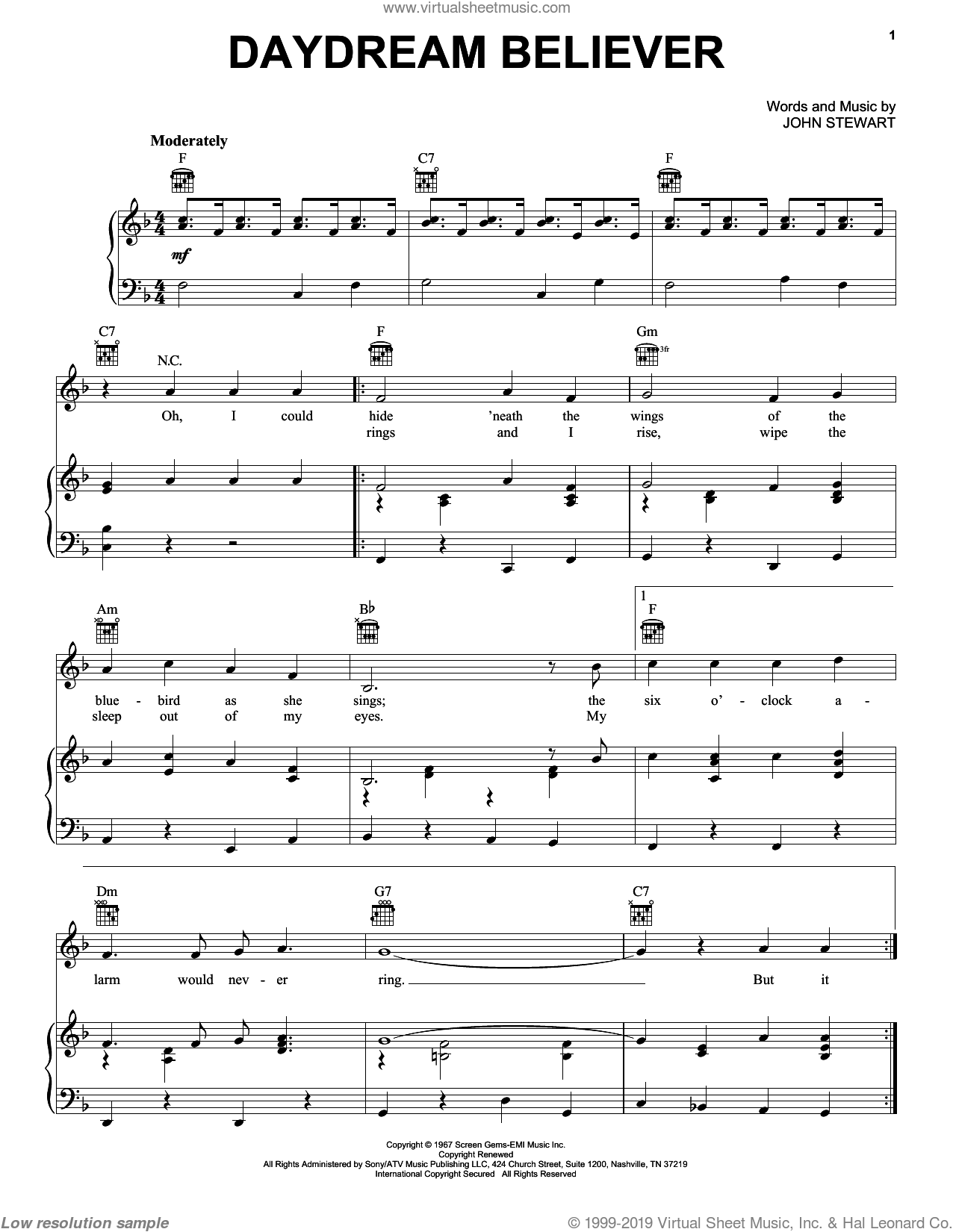 Daydream Believer sheet music for voice, piano or guitar by John Stewart