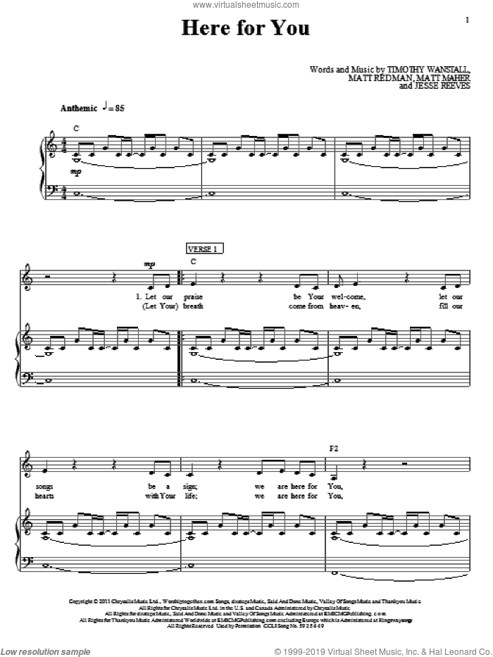 We Are Here For You sheet music for voice, piano or guitar by Tim Wanstall, Passion, Jesse Reeves, Matt Maher and Matt Redman. Score Image Preview.