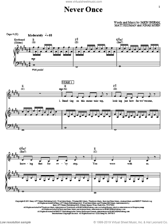 Never Once sheet music for voice, piano or guitar by Matt Redman, Jason Ingram and Jonas Myrin, intermediate skill level