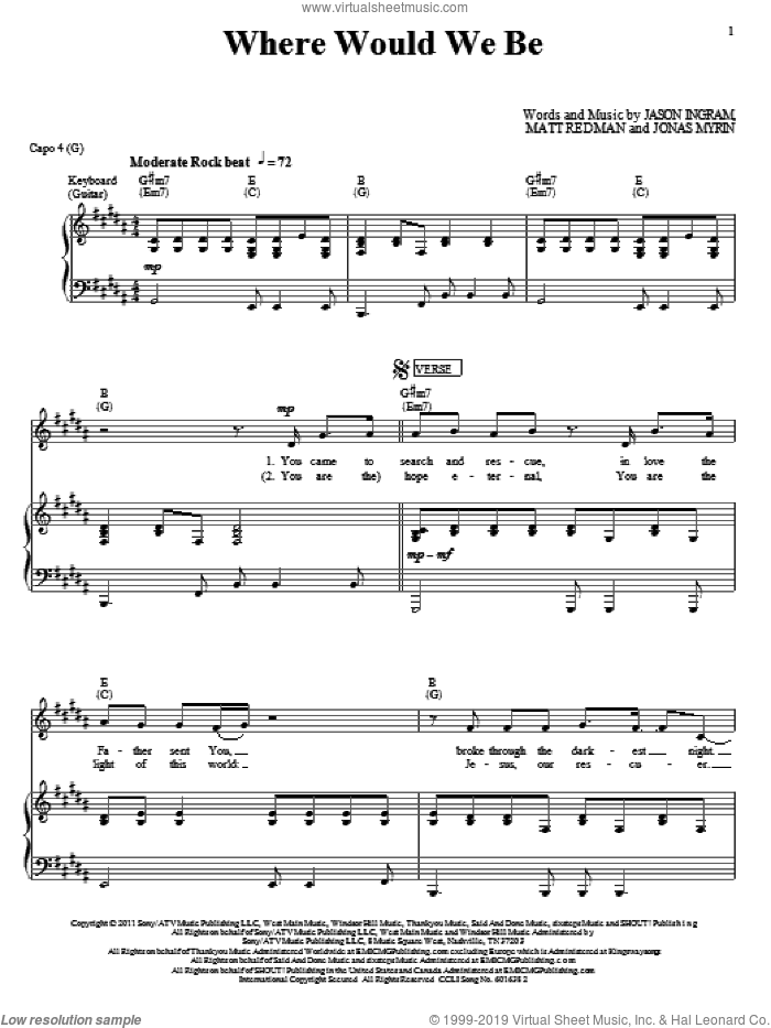 Where Would We Be sheet music for voice, piano or guitar by Matt Redman, Jason Ingram and Jonas Myrin, intermediate skill level