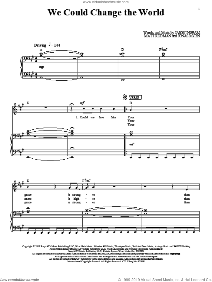 We Could Change The World sheet music for voice, piano or guitar by Matt Redman, Jason Ingram and Jonas Myrin, intermediate skill level