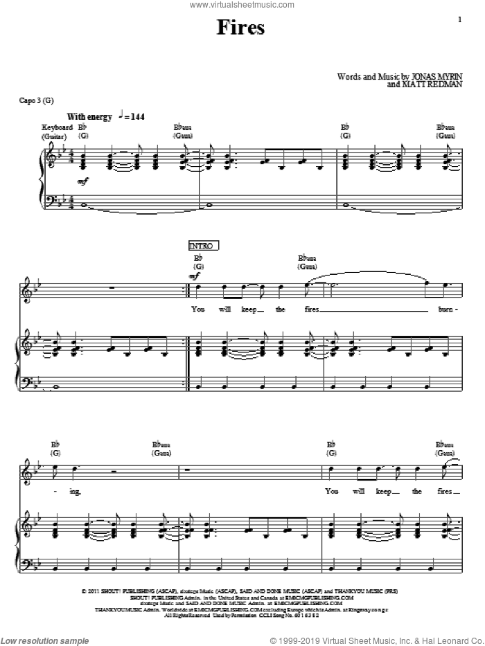 Fires sheet music for voice, piano or guitar by Jonas Myrin and Matt Redman. Score Image Preview.
