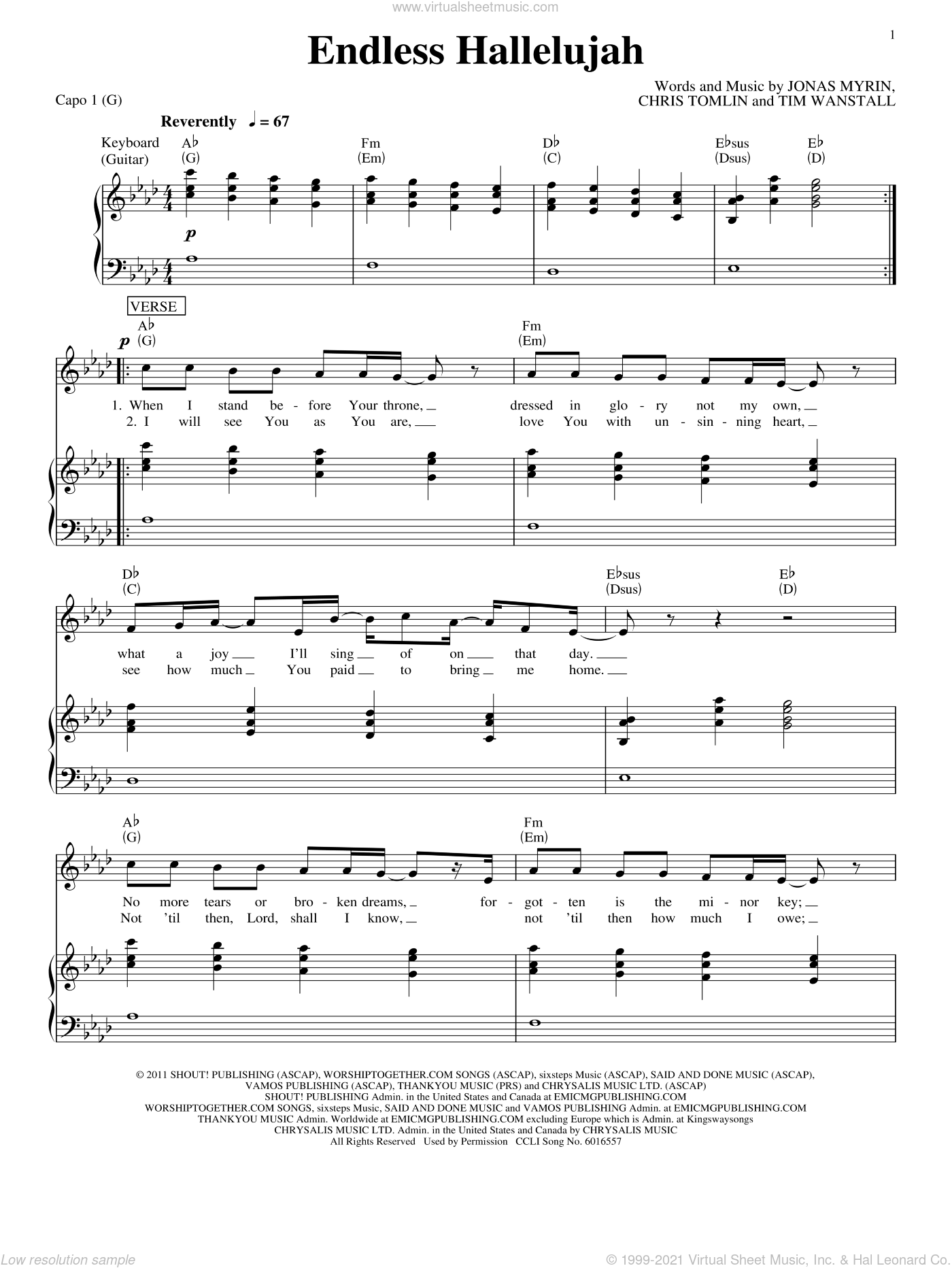 Endless Hallelujah sheet music for voice, piano or guitar by Matt Redman, Chris Tomlin and Jonas Myrin, intermediate. Score Image Preview.