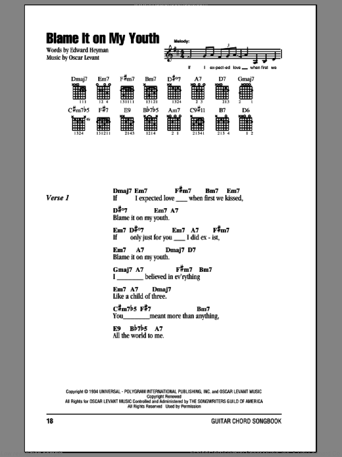 Blame It On My Youth sheet music for guitar (chords) by Oscar Levant and Edward Heyman. Score Image Preview.