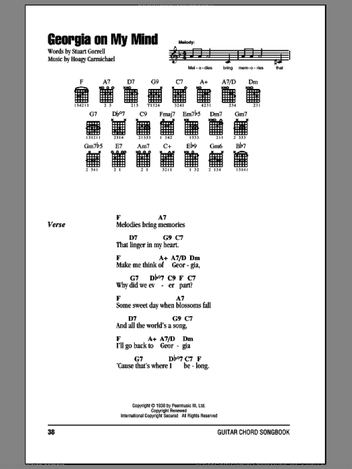 Georgia On My Mind sheet music for guitar (chords, lyrics, melody) by Stuart Gorrell