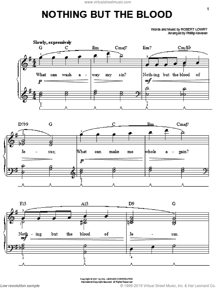 Nothing But The Blood sheet music for piano solo by Robert Lowry and Phillip Keveren, easy skill level