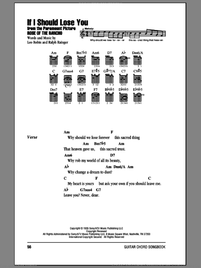 If I Should Lose You sheet music for guitar (chords) by Ralph Rainger, Phineas Newborn and Leo Robin, intermediate guitar (chords). Score Image Preview.
