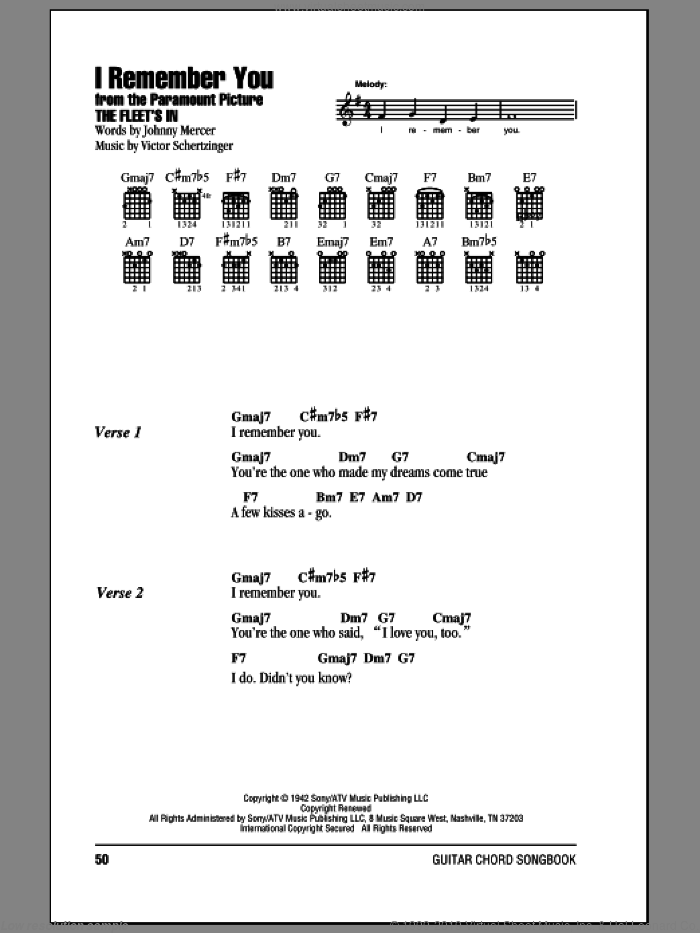 I Remember You sheet music for guitar (chords) by Victor Schertzinger