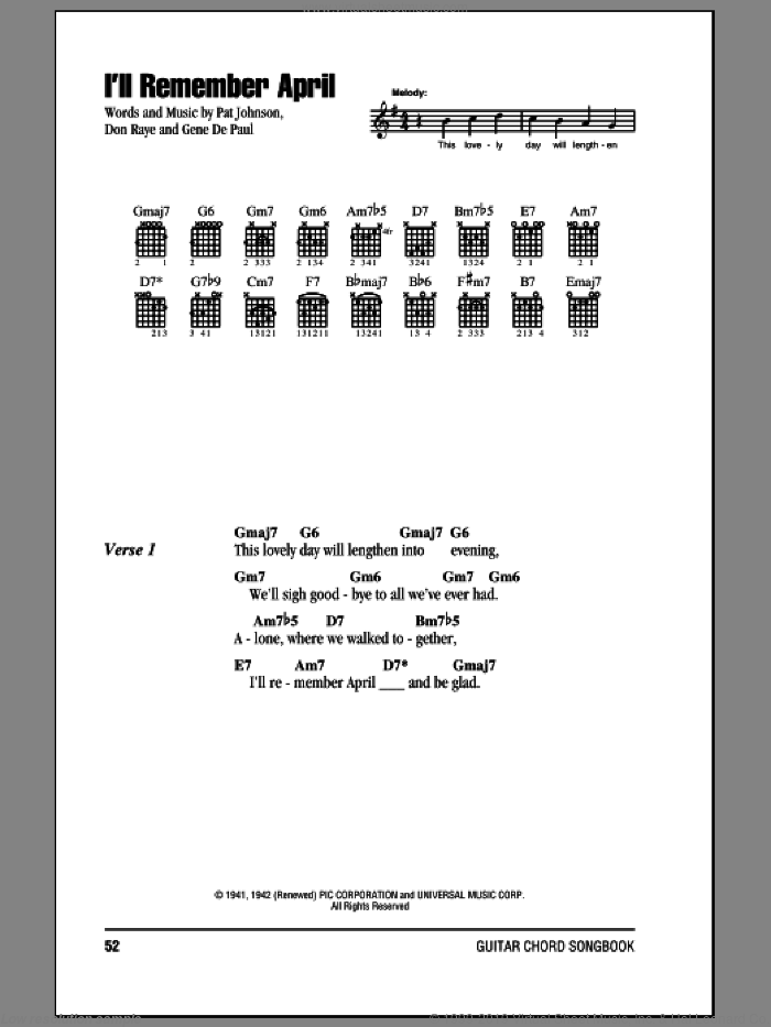 I'll Remember April sheet music for guitar (chords) by Pat Johnston, Woody Herman, Don Raye and Gene DePaul. Score Image Preview.