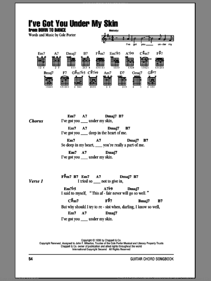 I've Got You Under My Skin sheet music for guitar (chords) by Cole Porter, intermediate skill level