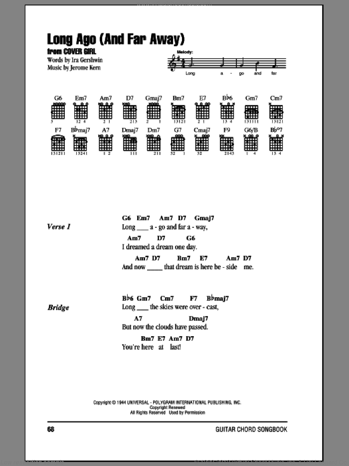 Long Ago (And Far Away) sheet music for guitar (chords) by Jerome Kern and Ira Gershwin, intermediate guitar (chords). Score Image Preview.