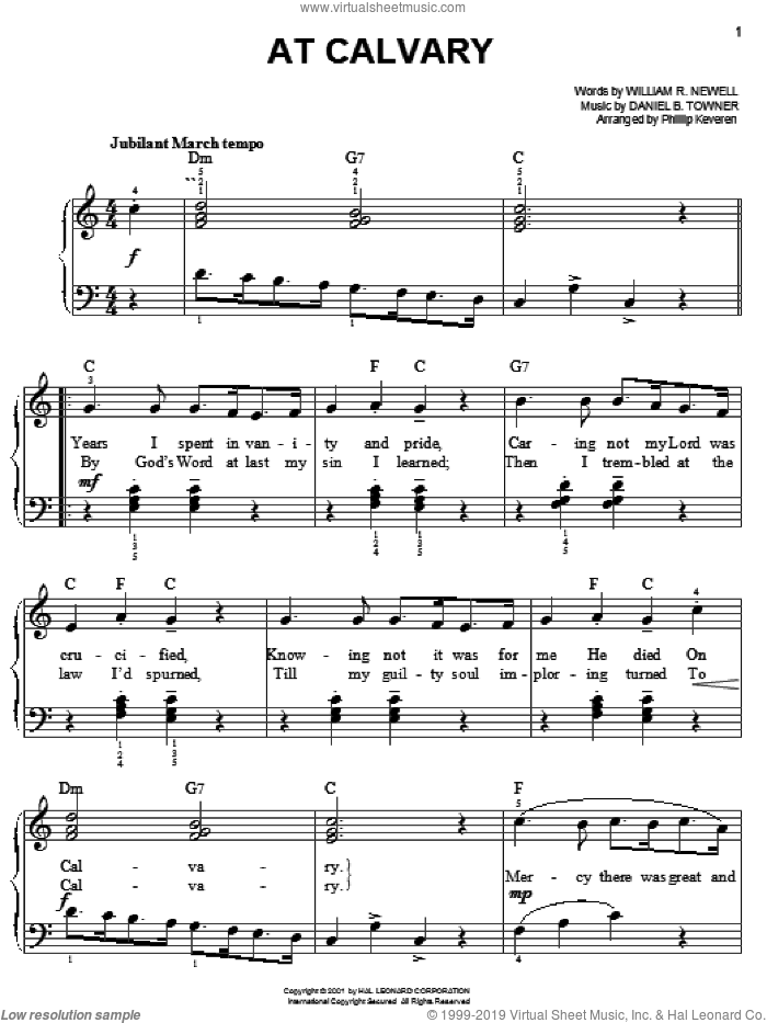 At Calvary sheet music for piano solo by William R. Newell, Phillip Keveren and Daniel B. Towner, easy. Score Image Preview.