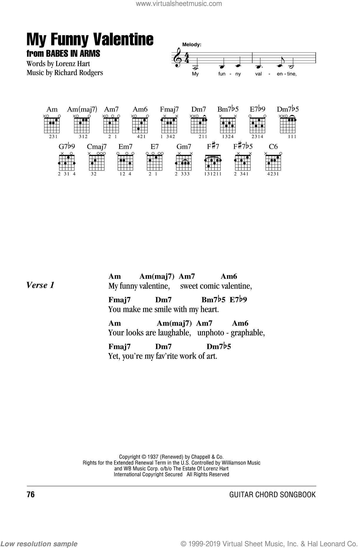 Hart My Funny Valentine Sheet Music For Guitar Chords