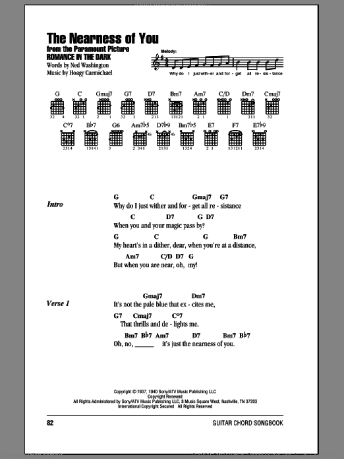 The Nearness Of You sheet music for guitar (chords) by Hoagy Carmichael, George Shearing and Ned Washington. Score Image Preview.