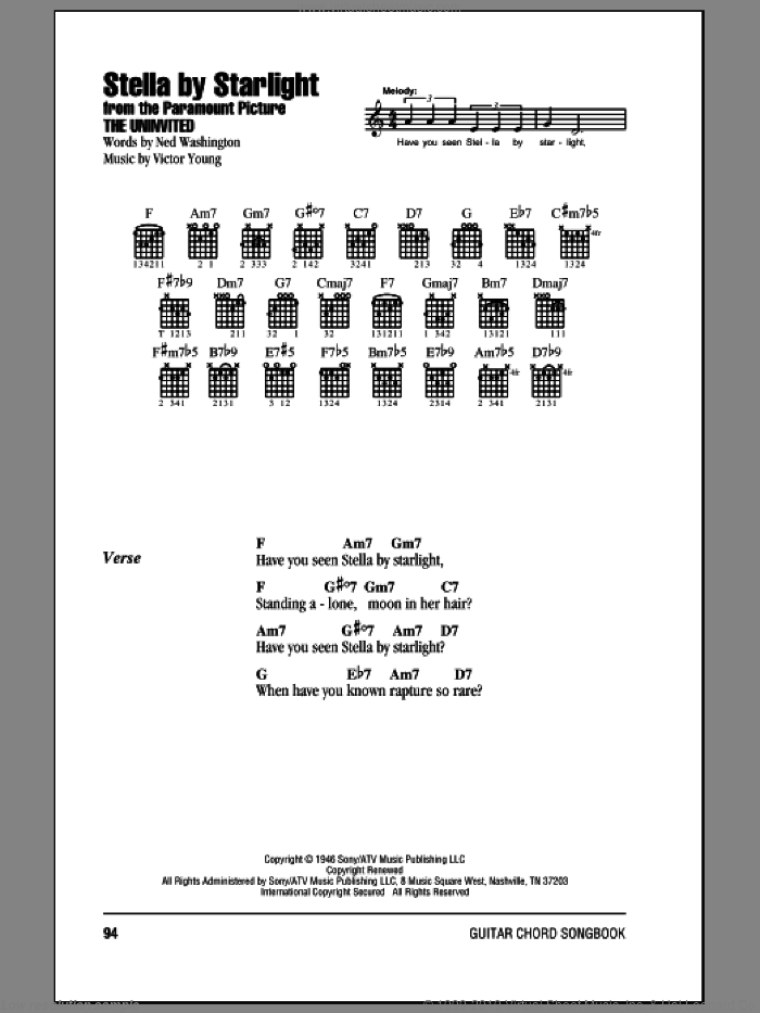 Stella By Starlight sheet music for guitar (chords) by Ned Washington, Ray Charles and Victor Young. Score Image Preview.