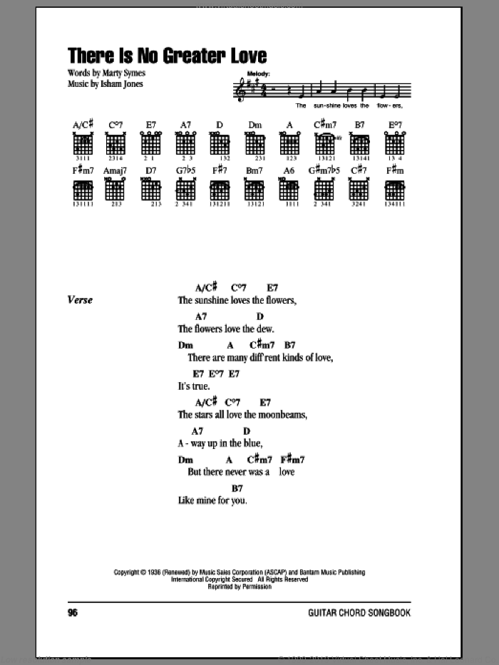 There Is No Greater Love sheet music for guitar (chords) by Isham Jones and Marty Symes, intermediate guitar (chords). Score Image Preview.