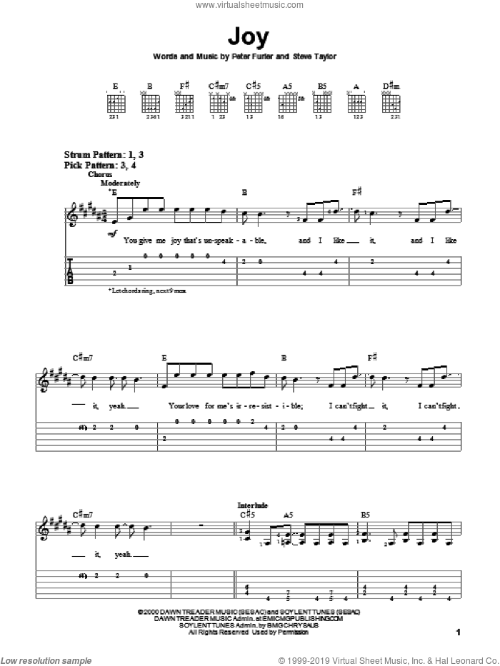 Joy sheet music for guitar (tablature) by Steve Taylor and Peter Furler. Score Image Preview.