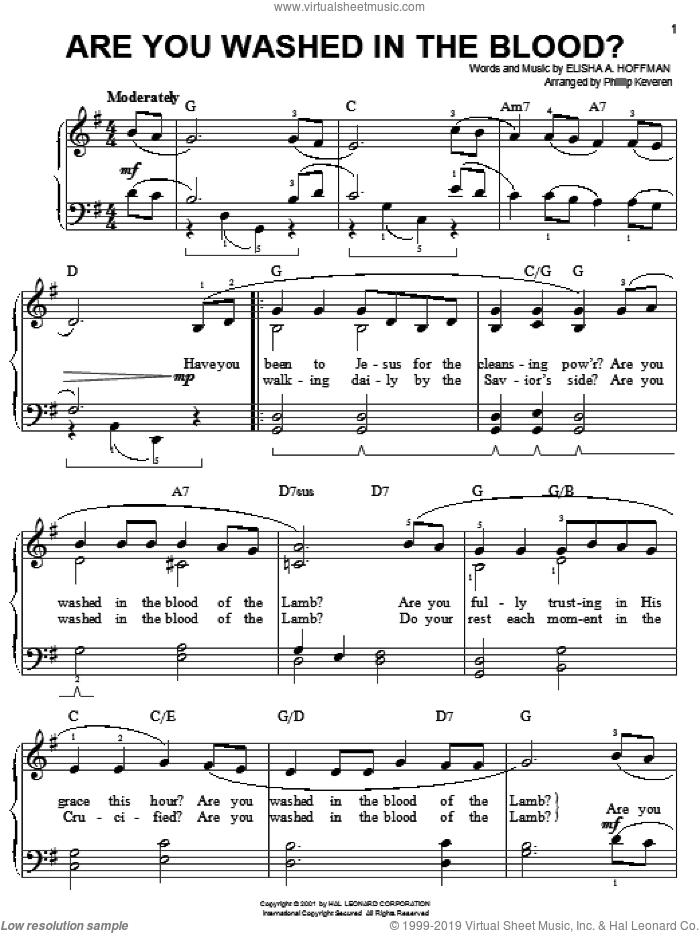 Are You Washed In The Blood? sheet music for piano solo by Elisha A. Hoffman and Phillip Keveren, easy skill level