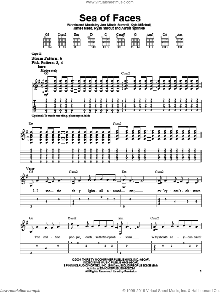 Sea Of Faces sheet music for guitar solo (easy tablature) by Kutless, Aaron Sprinkle, James Mead, Jon Micah Sumrall, Kyle Mitchell and Ryan Shrout, easy guitar (easy tablature)
