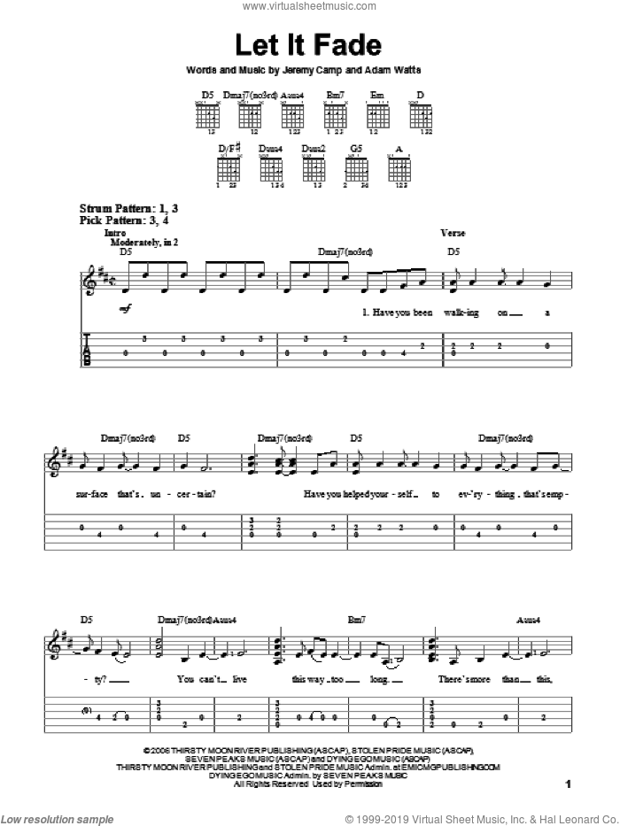 Let It Fade sheet music for guitar solo (easy tablature) by Adam Watts and Jeremy Camp. Score Image Preview.