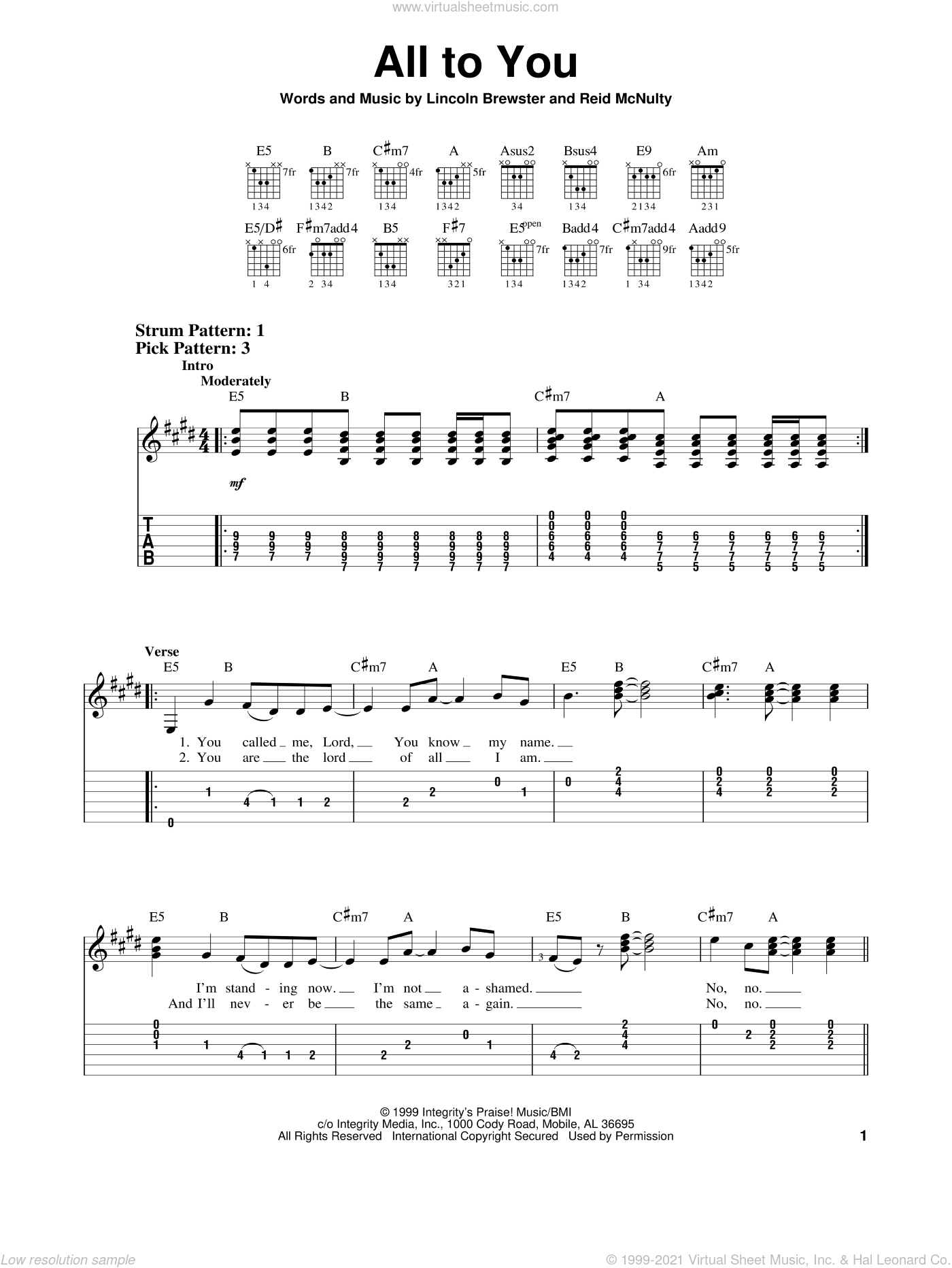 All To You sheet music for guitar solo (easy tablature) by Lincoln Brewster and Reid McNulty, easy guitar (easy tablature)