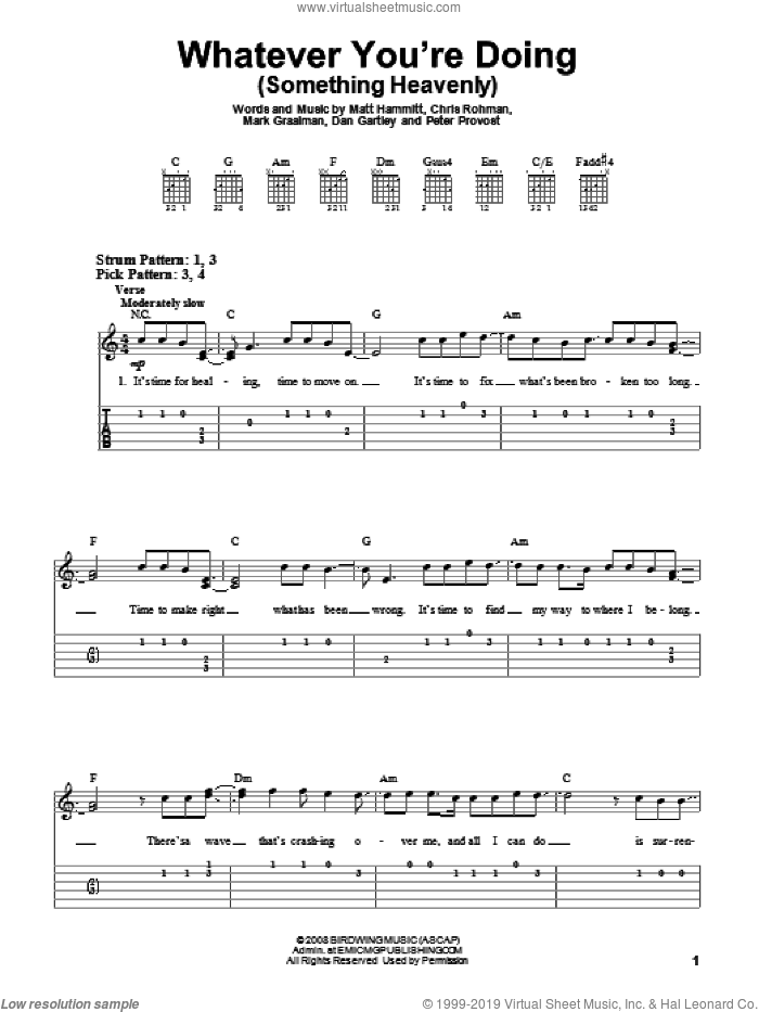 Whatever You're Doing (Something Heavenly) sheet music for guitar solo (easy tablature) by Sanctus Real, Chris Rohman, Dan Gartley, Mark Graalman, Matt Hammitt and Peter Prevost, easy guitar (easy tablature)