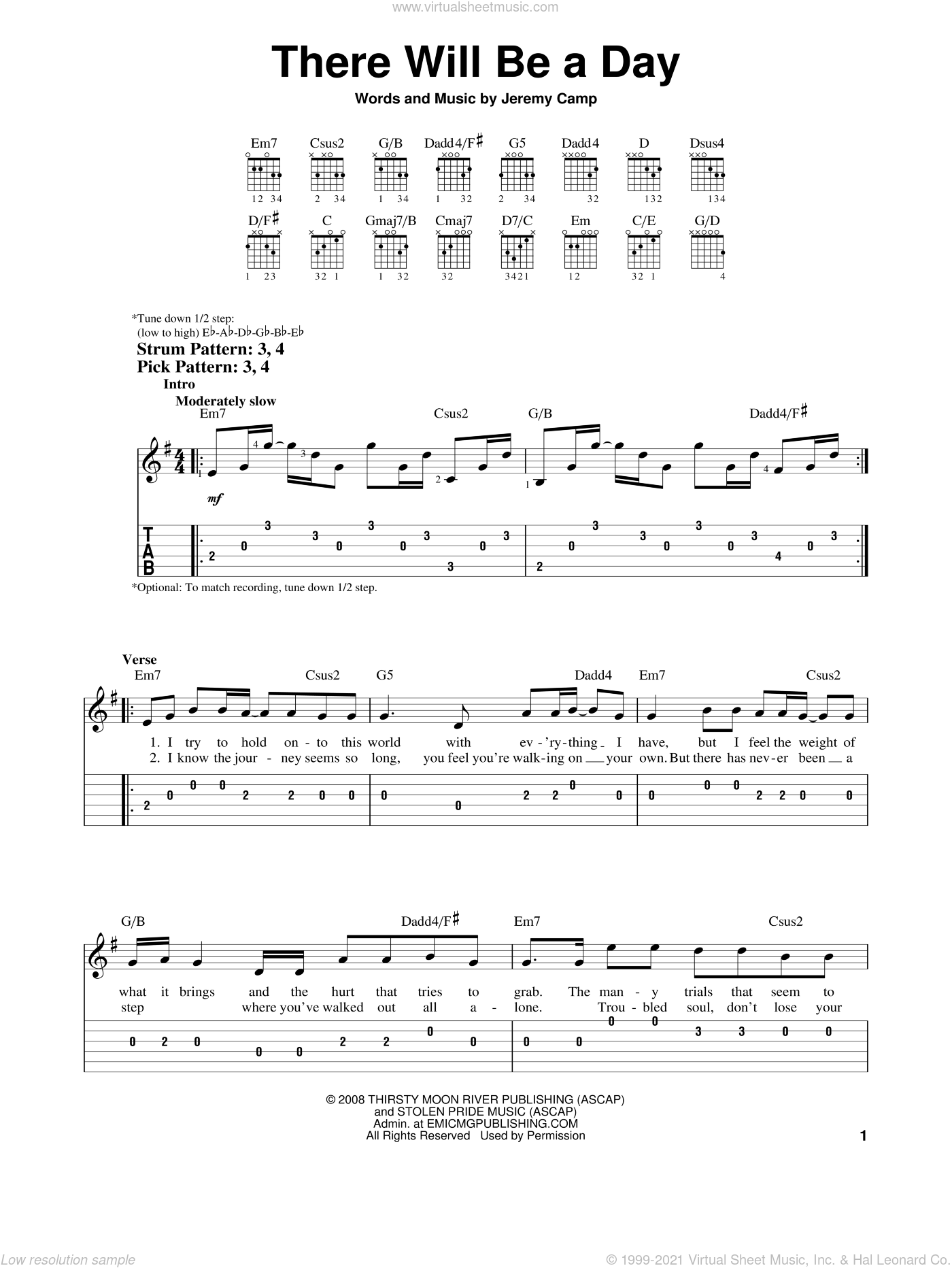 There Will Be A Day sheet music for guitar solo (easy tablature) by Jeremy Camp, easy guitar (easy tablature)