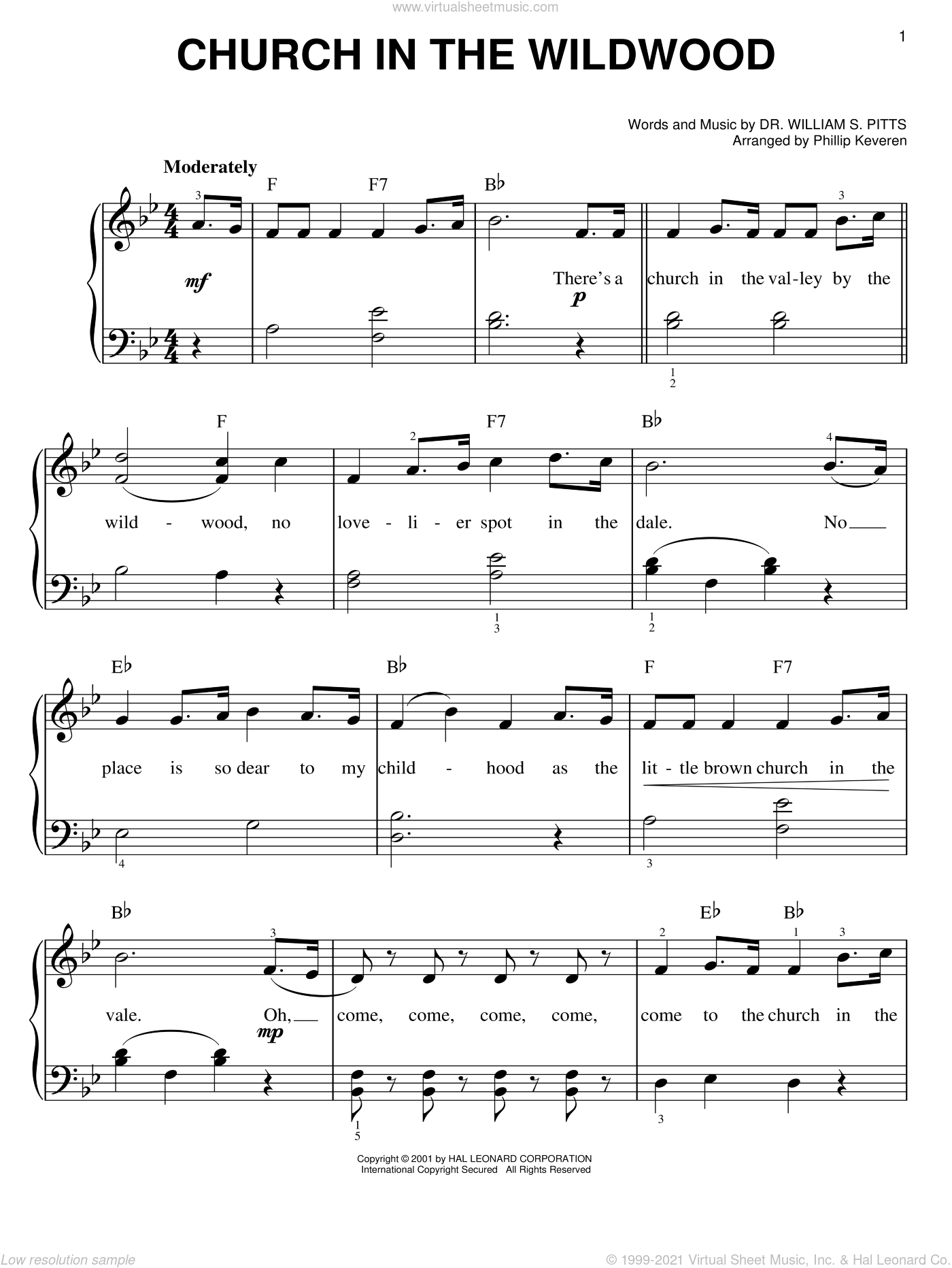 Church In The Wildwood sheet music for piano solo by Dr. William S. Pitts and Phillip Keveren, easy skill level