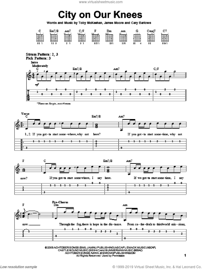 City On Our Knees sheet music for guitar solo (easy tablature) by tobyMac, Cary Barlowe, James Moore and Toby McKeehan, easy guitar (easy tablature)