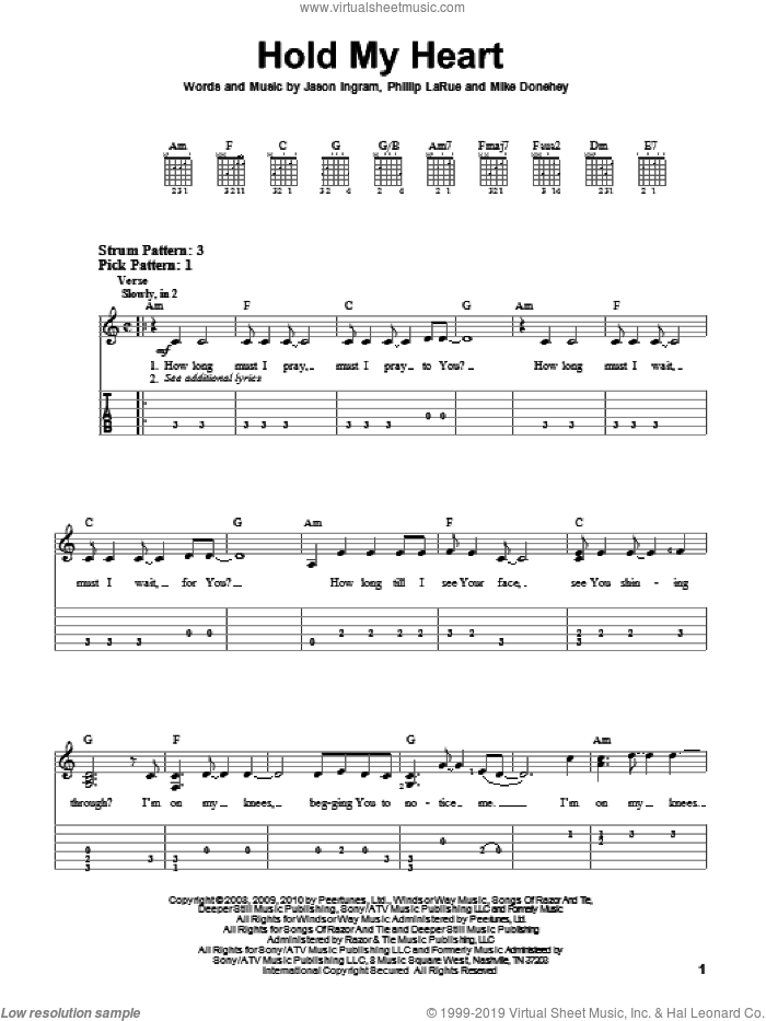 Hold My Heart sheet music for guitar solo (easy tablature) by Tenth Avenue North and Jason Ingram. Score Image Preview.
