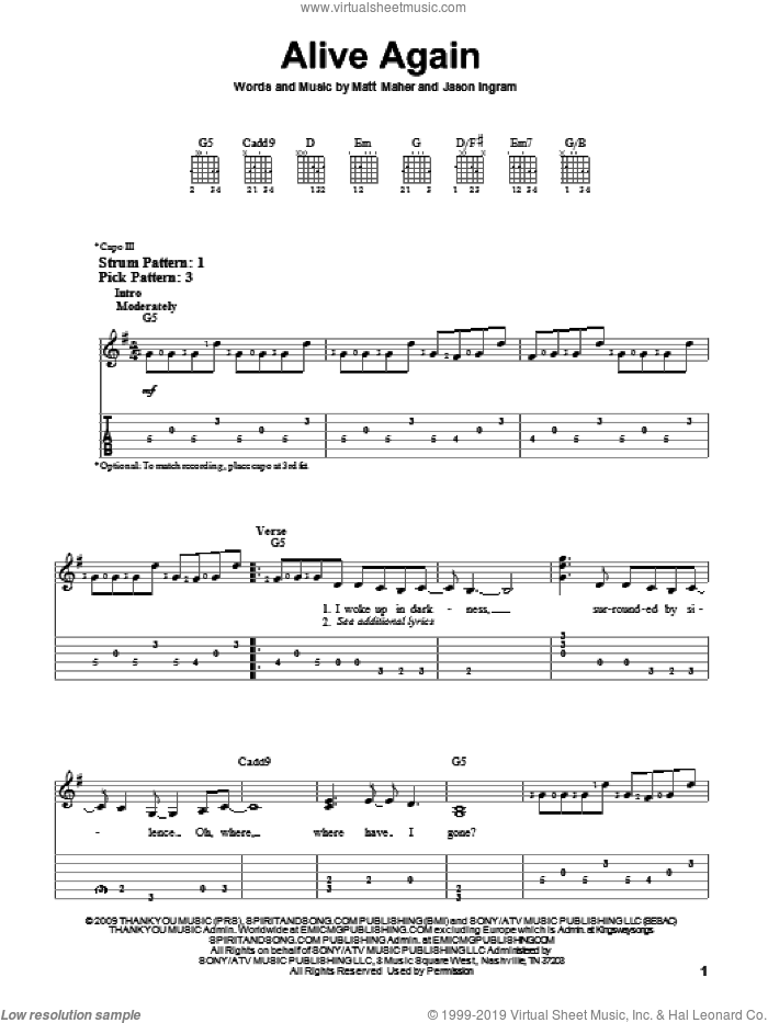 Alive Again sheet music for guitar solo (easy tablature) by Jason Ingram and Matt Maher. Score Image Preview.