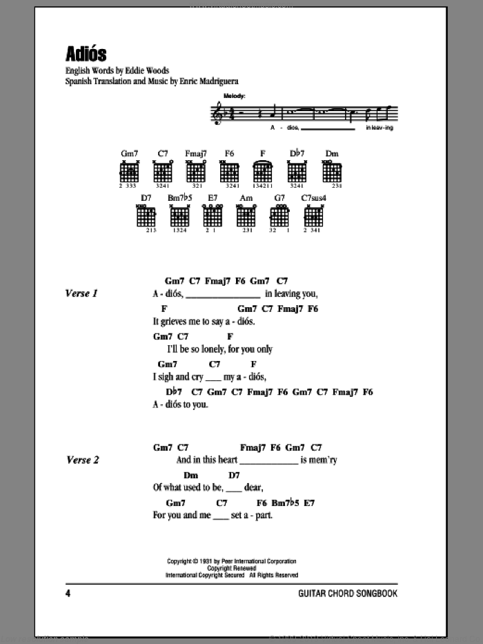 Adios sheet music for guitar (chords) by Enric Madriguera. Score Image Preview.