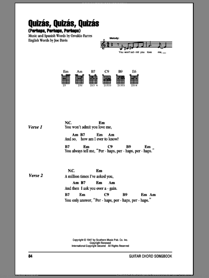 Quizas, Quizas, Quizas (Perhaps, Perhaps, Perhaps) sheet music for guitar (chords) by Joe Davis and Osvaldo Farres. Score Image Preview.
