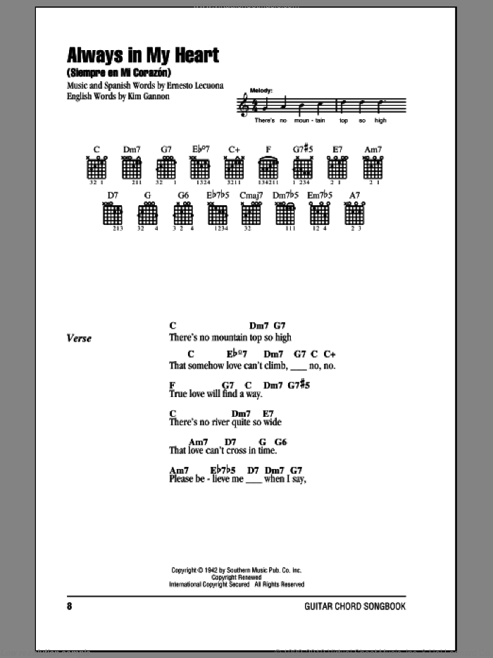 Always In My Heart (Siempre En Mi Corazon) sheet music for guitar (chords) by Kim Gannon, Glenn Miller and Ernesto Lecuona. Score Image Preview.