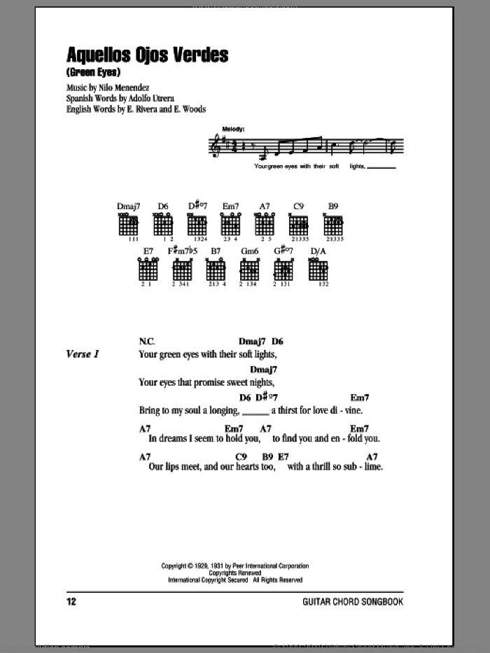 Aquellos Ojos Verdes (Green Eyes) sheet music for guitar (chords, lyrics, melody) by E. Woods