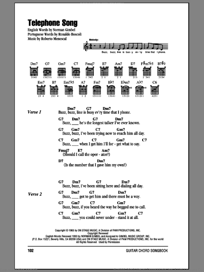 Telephone Song sheet music for guitar (chords) by Ronaldo Boscoli, Norman Gimbel and Roberto Menescal. Score Image Preview.
