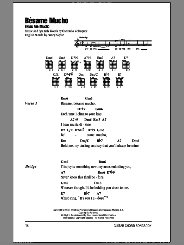 Besame Mucho (Kiss Me Much) sheet music for guitar (chords) by Consuelo Velazquez, intermediate. Score Image Preview.