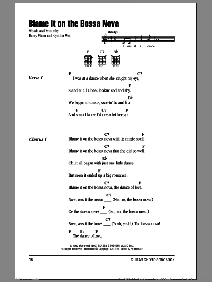 Blame It On The Bossa Nova sheet music for guitar (chords) by Cynthia Weil and Barry Mann. Score Image Preview.